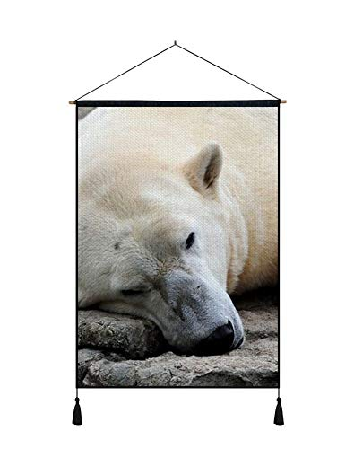 PUPBEAMO PRINTS Wall Art Scroll Poster - Polar Bear Resting Thick - Art Print On Canvas Wall Hanging Picture for Home Decoration 24x32 ()