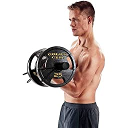 50 Lb. Cast-iron Olympic Plate Set, Pair of 25 lb Plates with Unique Grip-Plate , Black