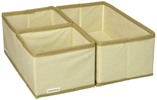 Greenco Non-Woven Foldable 3 Piece Drawer and Closet Storage Cube Set- (Beige) ()