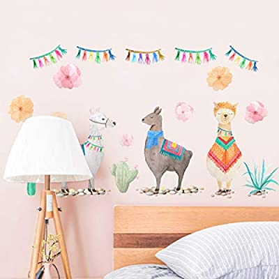 Alpaca Wall Decals Cute Animal Removable Stickers for Kids Nursery Bedroom and Party Decorations: Kitchen & Dining