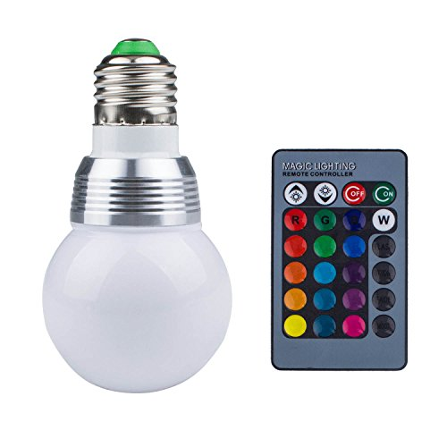 RGB LED Light Bulb with Romote Controller, Beinhome 16 Color Changing Dimmable 3W RGB Light Bulb with Remote Control for Kitchen Bedroom Bar Decoration, E27 Standard Screw Base by Beinhome