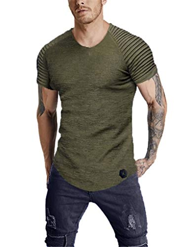 - Fenxxxl Men 2019 Summer Slim Fit Pleated Short Sleeve Big and Tall Muscle Tee Solid Color Gym T-Shirt Casual Running Tops F194-151 ArmyGreen XL