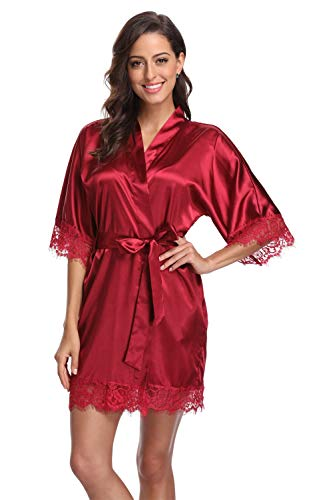 Original Kimono Women's Lace-Trimmed Satin Short Kimono Robe Bathrobe Loungewear Wine Red S]()