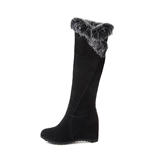 Round Pull AgooLar Frosted Black Toe Boots On Heels Closed Kitten Women's Solid pfRBH