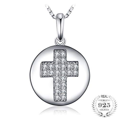 Motif Yellow Necklace - GSYDSZ Fashion 0.11ct Round Cubic Zirconia Cross Motif Pendant Necklace Real 925 Sterling Silver Jewelry 18 Inches