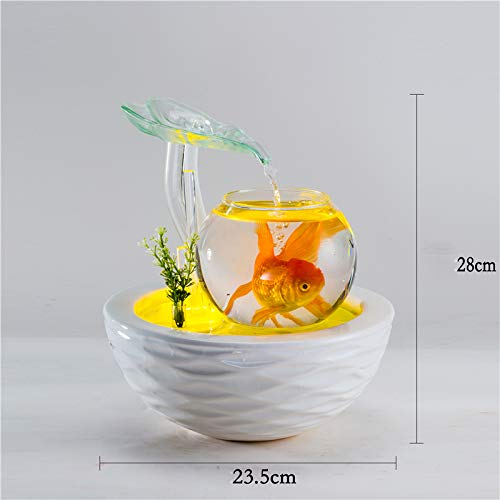 100-220V Ceramic vase Water Fountain Feng Shui Ornaments LED Lights Lucky Home Decorative Art humidifier Glass Aquarium, D
