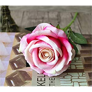 Aidou Emulation Rose Artificial Rose Flower Red Color DIY Plasitic Flower for Wedding Home Decoration 52cm Home Lovely Ornaments 116