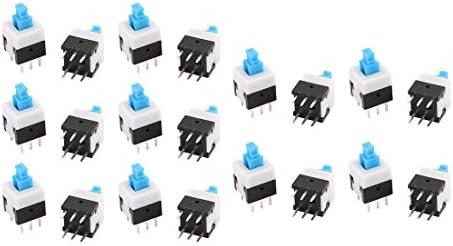 uxcell 押しボタンスイッチ プッシュボタンスイッチ セルフロック ピン長3.5mm プラスチック メタル 6ピン 20個入り