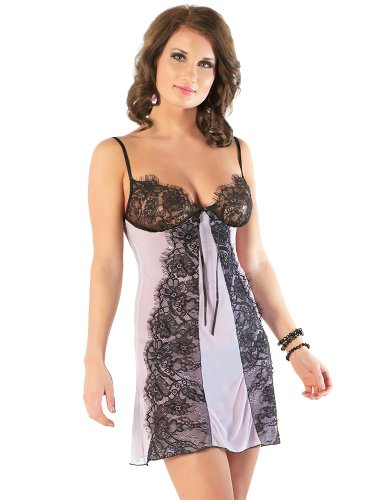 Coquette Women's A-Line Mesh Chemise with Eyelash Lace