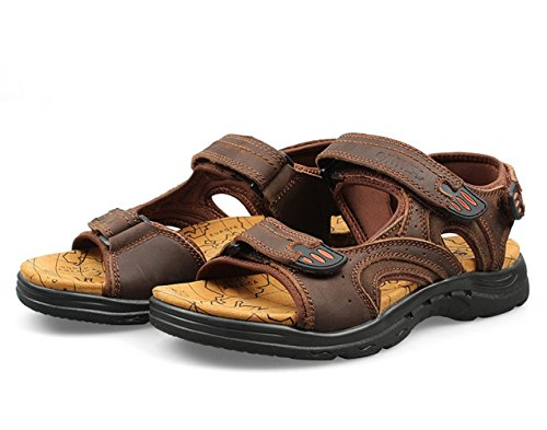 Chickle Velcro Sandal Leather Brown Men's Strap W887Cwvxq6