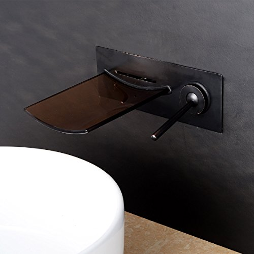 LightInTheBox Single Handle Bathroom Sink Faucet Waterfall LED Oil-rubbed Bronze Wall Mounted Bathroom Basin Mixer Faucet Bathtub Faucets ORB
