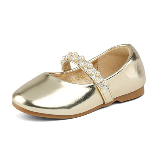 DREAM PAIRS SERENA-100-INF Mary Jane Casual Slip On Ballerina Flat Toddler New Gold Size 10 (Girls Dress Flat Shoes)
