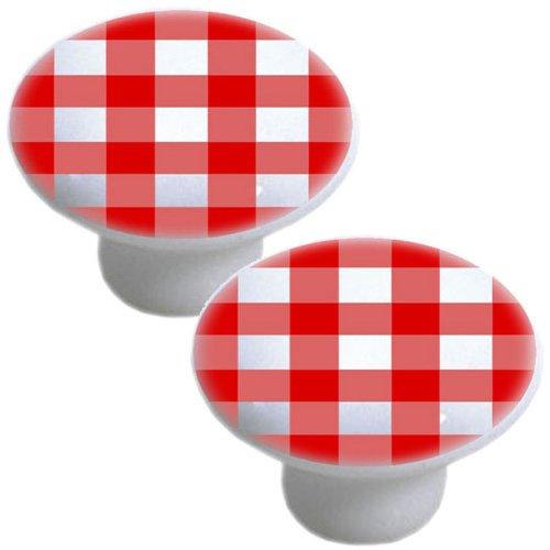 Gingham Drawer Pulls - Set of 2 Red Gingham Ceramic Cabinet Drawer Pull Knobs