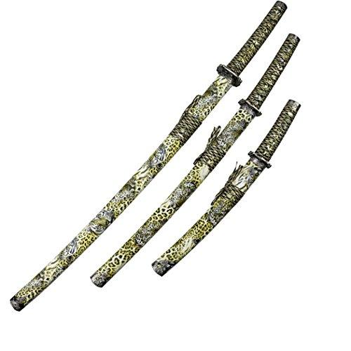 - Defender 3pc Samurai Katana Sword Set Tiger Face Leopard Print