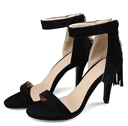 Sandalo Aperto Con Tacco A Spillo In Pelle Scamosciata Con Cinturino E Cinturino Alla Caviglia