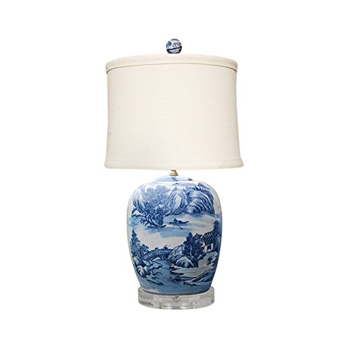 Porcelain Ginger Lamp Jar (Blue and White Blue Willow Porcelain Ginger Jar Table Lamp 27