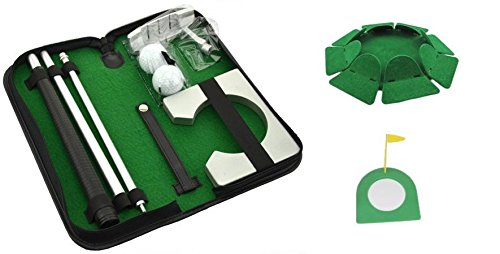Posma PG020B Practice Putting Cup + Portable Golf Putter Set Kit with Ball Hole-Cup + All-Direction Training Plate