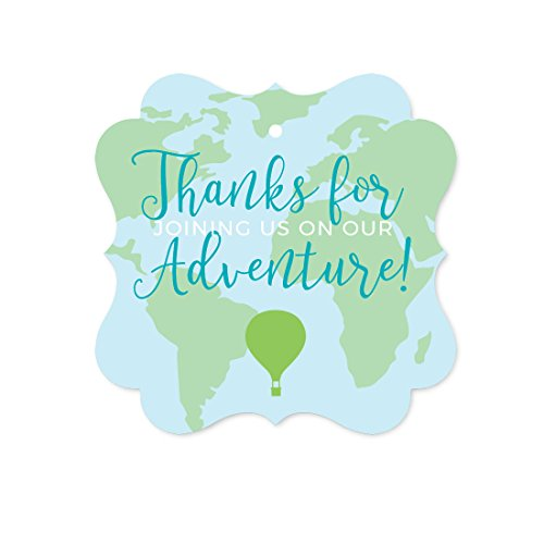 - Andaz Press Hot Air Balloon Adventure World Map Party Collection, Blue Green, Fancy Frame Gift Tags, Thank You for Joining Us on Our Adventure, 24-Pack
