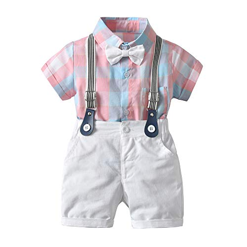 Baby Boys Gentleman Outfits Suits, Infant Short Sleeve Shirt+Bib Pants+Bow Tie Overalls Clothes Set Pink