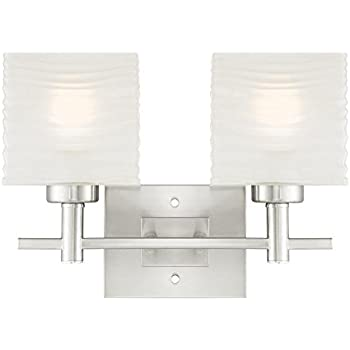 6303900 Alexander Two-Light Indoor Wall Fixture, Brushed Nickel Finish with Rippled White Glazed Glass