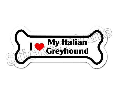 (Dog Bone Magnet I Love My Italian Greyhound Grayhound Car Truck Locker Magnet)