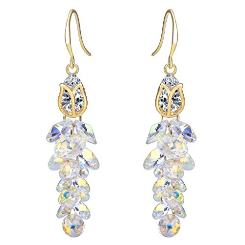 FANZE Women's Gold-Tone Gorgeous Tulip Multi-Bead Hook Dangle Earrings Clear AB Made with Swarovski - Crystal Swarovski Ab Dangle