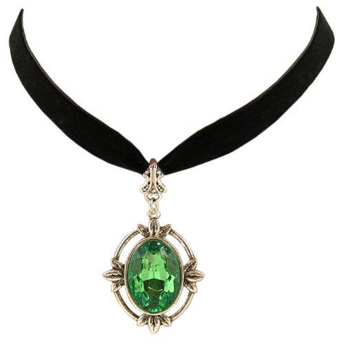 Trachtenschmuck Dirndl Ornament Anhänger Kropfband - Gothic Kette - Samtband schwarz - Grün