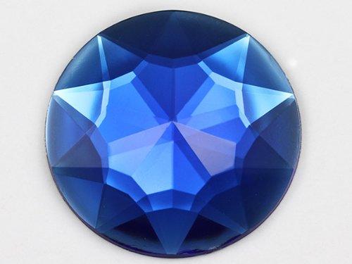 KraftGenius 32mm Sapphire H104 Flat Back Round Acrylic Rhinestones Plastic Circle Gems for Costume Making Cosplay Jewels Pro Grade Embelishments - 6 Pieces