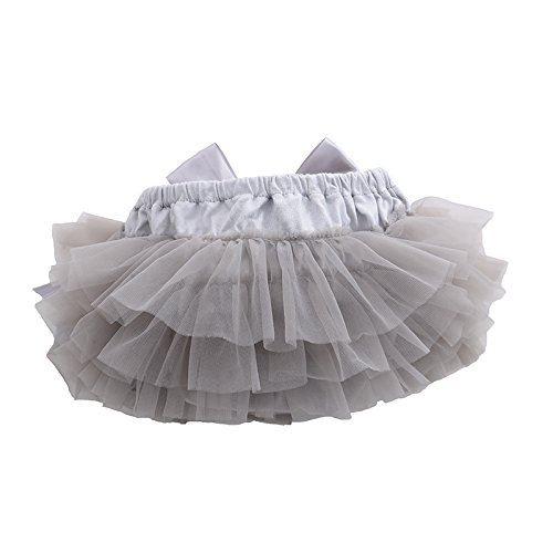 muyan Girls Cotton Tulle Ruffle with Bow Baby Bloomer Diaper Cover and Headband Set (Grey, M(6Month-12Month))