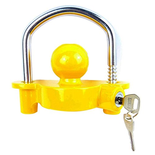 Blackpoolfa Trailer Hitch Coupler Lock by Anti-Theft Lock Trailer Accessories Adjustable & Universal Fits All - Heavy Duty Design with Iron and Aluminum Alloy Base - Easy to Install (Yellow) by Blackpoolfa (Image #2)