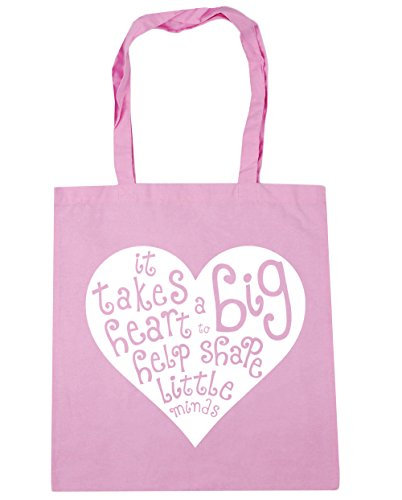 HippoWarehouse It Takes a Big Heart to Help Shape Little Minds Tote Shopping Gym Beach Bag 42cm x38cm, 10 litres Classic Pink