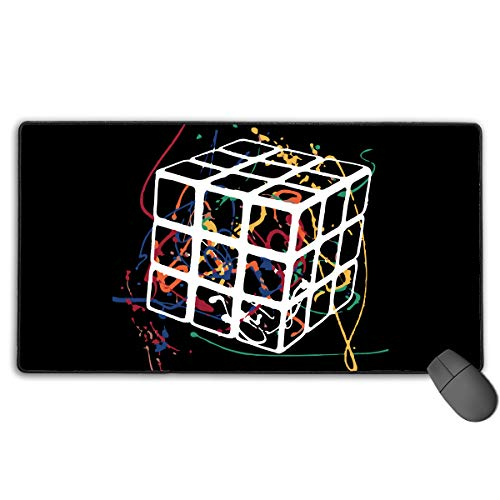 (Large Gaming Mouse Pad/Mat, Rubiks Cube Custom Mouse Mats with Non-Slip Rubber Base for Computer Laptop Keyboard Desktop, Durable Stitched)