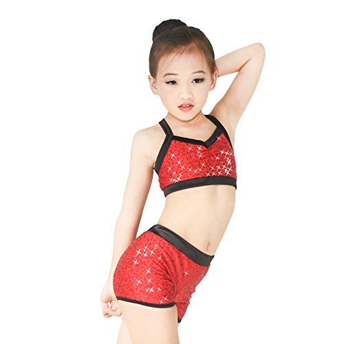 MiDee Sequins Costume Crop Tops & Shorts Hip Hop Pole Dance Outfits Gymastics Acrobatics Competition Performance (LC, Red) - Acrobatics Costumes
