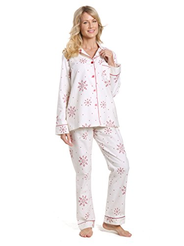 Noble Mount Women's Cotton Flannel Pajama Set - Lovely Snowflakes White-Red - X-Large