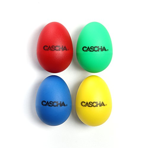 CASCHA HH 2003 Egg Shaker Set 4-teilig für Percussion und musikalische Früherziehung rot/blau/gelb/grün
