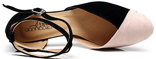 Abby 7136 Women Closed Toe Kitten Heel Latin Dance Shoes Tango Cha-Cha Swing Ballroom Party Wedding Sudue Sole Flannel Black 4nL1E5
