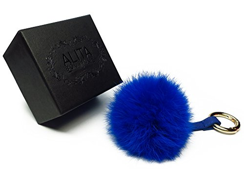 ALITA Boutique Plush Rabbit Fur Pom Pom Ball Keychain — Adorn Elegant Purses, Handbags, & Luggage — Luxury Bag Charm & Fashion Accessory with Faux Leather Strap & Premium Gold Metal Keyring (Blue) (Strap Charm Blue)