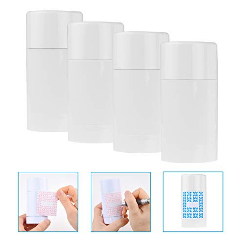 Kare & Kind Empty Deodorant Containers with Cap (4-Pack) - 75ml. - Top Fill with Twist Mechanism - 10 Writable Stickers - Refillable Cosmetic Tubes for Lip Balm, Solid Fragrance, Soap etc. - (White) (Best Kind Of Deodorant)