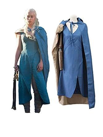 COSAUG Khaleesi Costume Daenerys Targaryen Blue Dress Cosplay Costume (L)