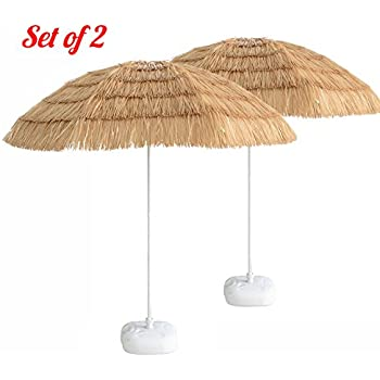 Caymus 7ft Hula Thatched Tiki Umbrella Hawaiian Style Beach Patio Umbrella  Natural Color 8 Ribs,set Of 2
