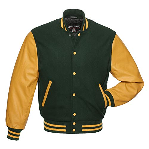 Varsity Letterman Jacket - Forest Green Wool & Gold Leather - Large