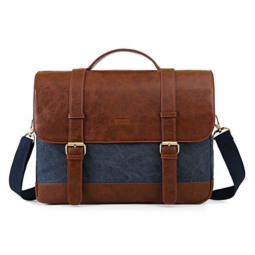 ECOSUSI 15.6 inch Laptop Messenger Bag Vintage Briefcase Computer Satchel Shoulder Bag with Multiple Compartments for Men and Women, Blue