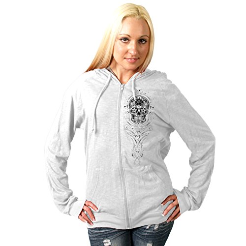 Hot Leathers Sugar Skull Lightweight Slubby Women's Hooded Sweatshirt (White, -
