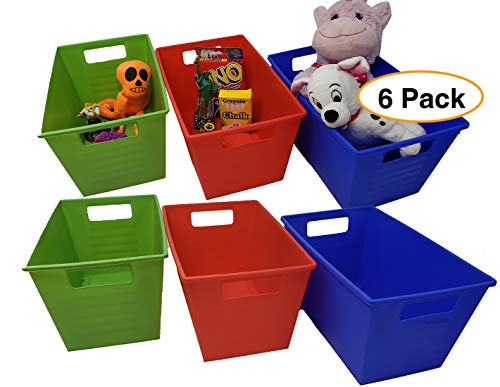"(Toys Storage Bins Box Organizer | Locker Storage Basket (6 Pack) Blue, Red & Green Medium 11"" x 7"" x)"