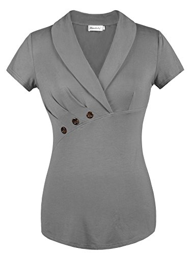 Ninedaily Sexy Shirt for Women, Office Tops V Neck Short Sleeve Tops Party Business Wear Tee Gray Size XL by Ninedaily (Image #4)