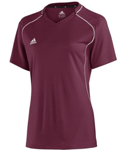 adidas Women's Varsity Loosefit Short Sleeve Tee - Burgundy - Large