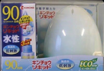 【大日本除虫菊】水性キンチョウリキッド 90日 無香料 ECO ミルキーブルーセット ×10個セット B00XTAQ89A