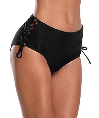 belamo Women's Strappy Swim Bottom Lace up Tankini Bikini Briefs Shorts