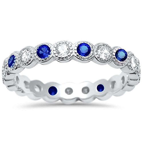 - Oxford Diamond Co Simulated Blue Sapphire & Cz Antique Style Bezel Set Eternity Stackable .925 Sterling Silver Ring Sizes 8