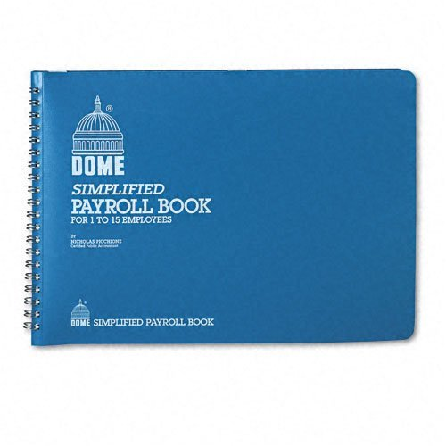Dome® Simplified Payroll Record, Light Blue Vinyl Cover, 7 1/2 x 10 1/2 Pages by DomeSkin